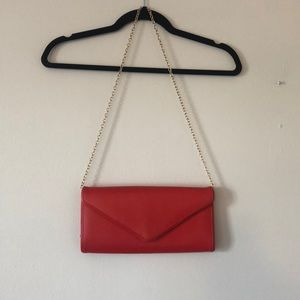 Red Aldo Purse with Gold Detachable Chain